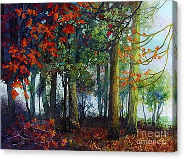 Canvas Print featuring the painting Woodland Trail by Hailey E Herrera