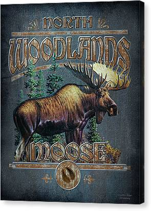 North American Wildlife Canvas Print - Woodlands Moose Sign by JQ Licensing