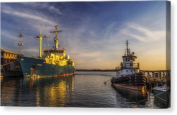 Woods Hole Ship Yard Canvas Print by Mark Papke