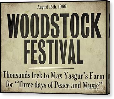 Woodstock Festival Newspaper Canvas Print by Mindy Sommers
