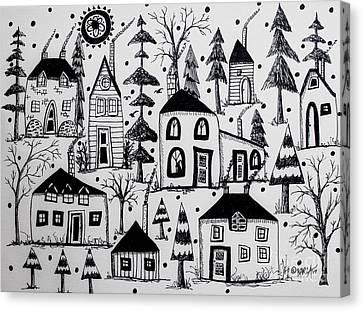 Woodsy Village Canvas Print