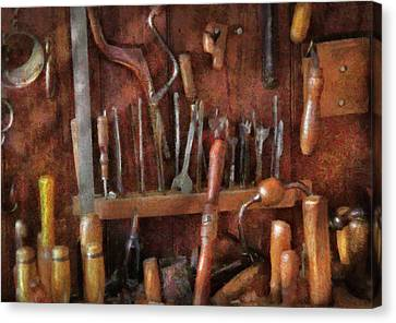 Earth Tones Canvas Print - Woodworker - Old Tools by Mike Savad