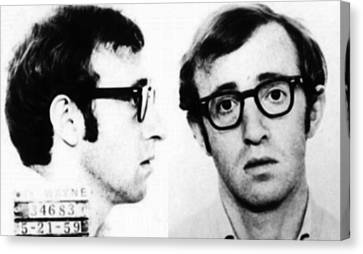 Woody Allen Mug Shot For Film Character Virgil 1969 Canvas Print by Tony Rubino