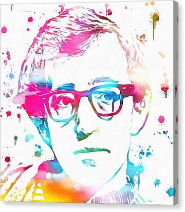 Woody Allen Canvas Print - Woody Allen Paint Splatter by Dan Sproul