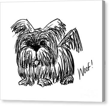 Woof, A Dust Mop Dog Canvas Print by Stacey May
