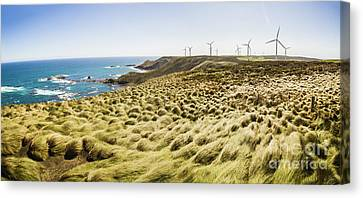 Wind Turbines Canvas Print - Woolnorth Wind Farm And Ocean Landscape Tasmania by Jorgo Photography - Wall Art Gallery