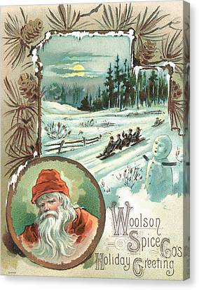 Father Christmas Canvas Print - Woolson Spice Company Christmas Card by John Henry Bufford