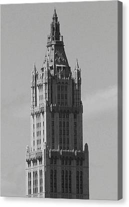 Woolworth Building Black And White Canvas Print by Christopher Kirby