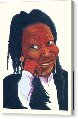 Canvas Print featuring the painting Woopy Goldberg by Emmanuel Baliyanga