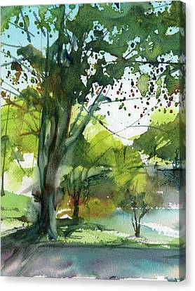 Worcester Sketchbook, Elm Park During May Vertical Canvas Print