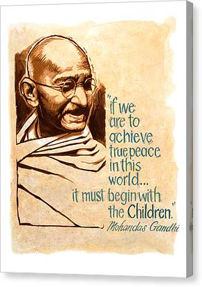 Martyr Canvas Print - Words Of Peace Man Of Peace  Mohandas Gandhi by Shawn Shea