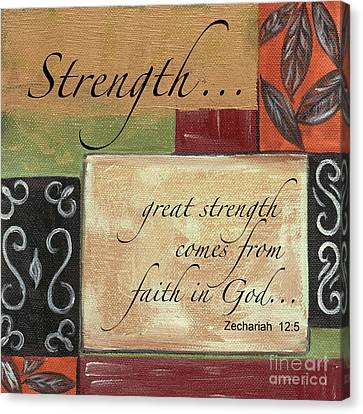 Celebrate Canvas Print - Words To Live By Strength by Debbie DeWitt