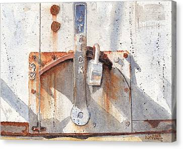 Work Trailer Lock Number One Canvas Print by Ken Powers