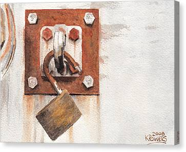 Work Trailer Lock Number Two Canvas Print by Ken Powers