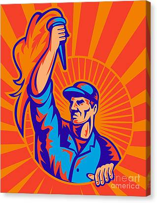 Worker Carrying Flaming Torch Sunburst Canvas Print by Aloysius Patrimonio