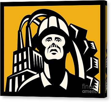 Worker Factory Building Canvas Print by Aloysius Patrimonio