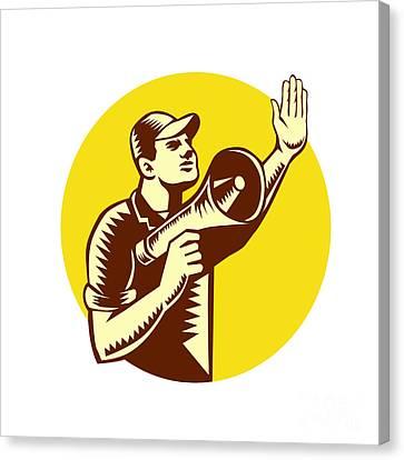 Worker Holding Megaphone Circle Woodcut Canvas Print