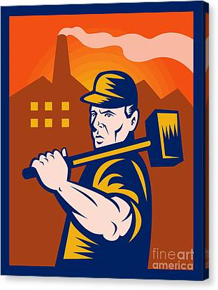 Factory Canvas Print - Worker With Sledgehammer by Aloysius Patrimonio