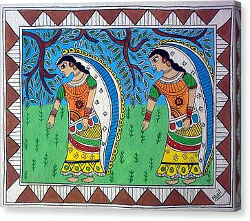 Working In Farms Madhubani Painting Canvas Print by Aboli Salunkhe