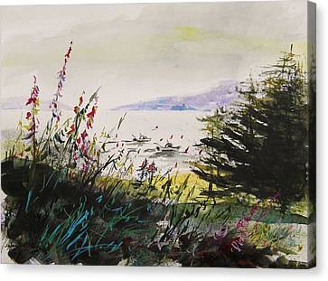 Maine Landscape Canvas Print - Working In The Cove by John Williams