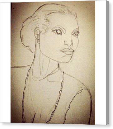 Working On An Eartha Kitt Sketch For My Canvas Print by Genevieve Esson
