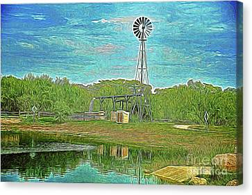 Canvas Print featuring the photograph Working Windmill  by Ray Shrewsberry