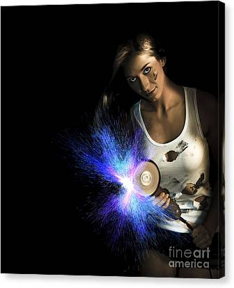 Working Woman With Industrial Tools Canvas Print