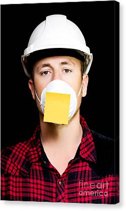 Workman With A Sticky Note Reminder Canvas Print by Jorgo Photography - Wall Art Gallery