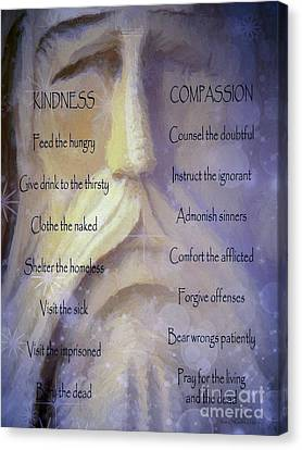 Works Of Mercy Canvas Print by Jean OKeeffe Macro Abundance Art