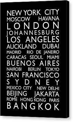 World Cities Bus Roll Canvas Print by Michael Tompsett