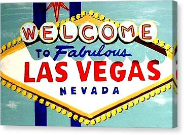 World Famous Las Vegas Sign Daytime Canvas Print by Teo Alfonso