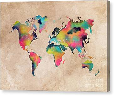 World Map 1 Canvas Print by Justyna JBJart