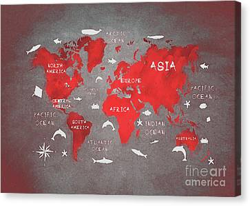 World Map 48 Red Canvas Print by Justyna JBJart