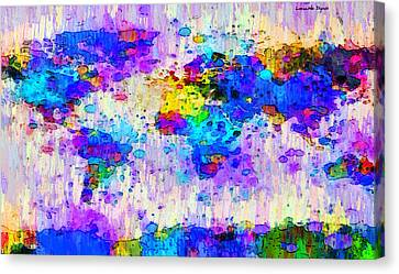 World Map Abstract 2 - Da Canvas Print by Leonardo Digenio