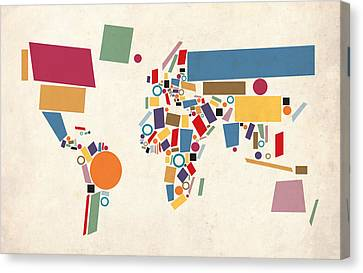 World Map Canvas Print - World Map Abstract by Michael Tompsett
