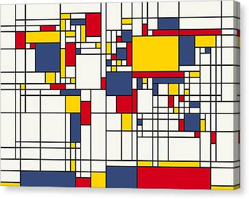 World Map Abstract Mondrian Style Canvas Print by Michael Tompsett