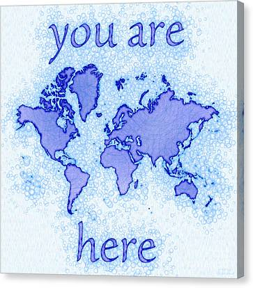 World Map Airy You Are Here In Blue And White Canvas Print