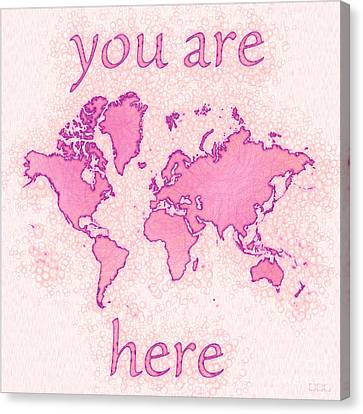 World Map Airy You Are Here In Pink And White Canvas Print