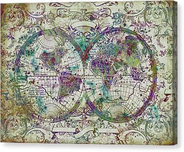 World Map Antique 13 Canvas Print by Bekim Art