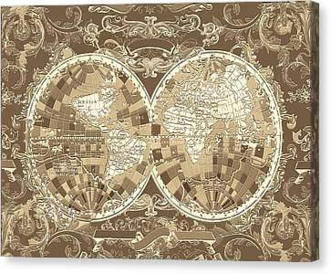 World Map Antique 3 Canvas Print