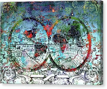World Map Antique 4 Canvas Print by Bekim Art