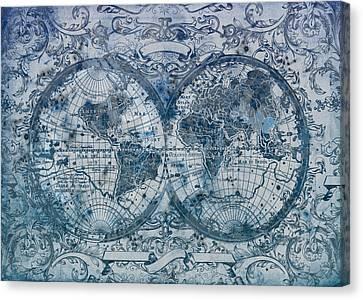 World Map Antique 5 Canvas Print by Bekim Art