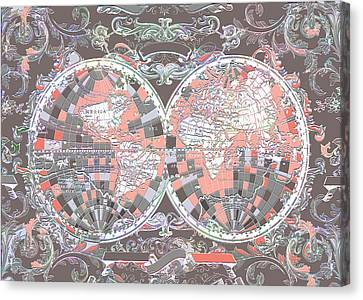 World Map Antique 7 Canvas Print by Bekim Art