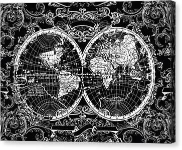 World Map Antique 8 Canvas Print by Bekim Art