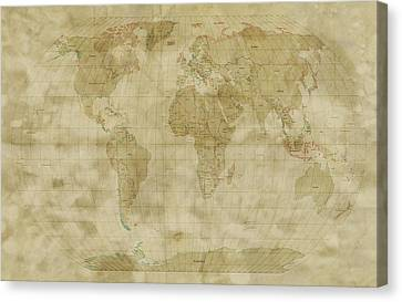 Old Map Canvas Print - World Map Antique Style by Michael Tompsett