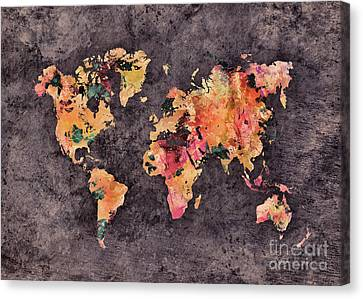 World Map Art 68 Canvas Print by Justyna JBJart
