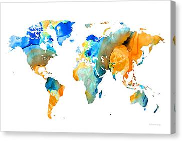 World Map Art - Map Of The World 14 - By Sharon Cummings Canvas Print by Sharon Cummings