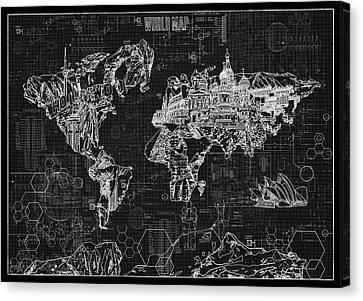 Canvas Print featuring the digital art World Map Blueprint 2 by Bekim Art