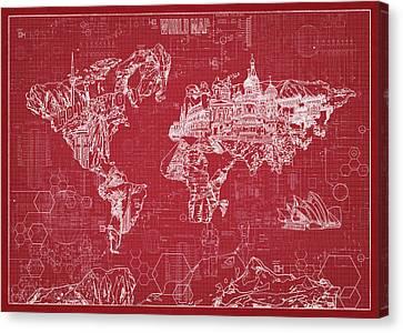 Canvas Print featuring the digital art World Map Blueprint 3 by Bekim Art