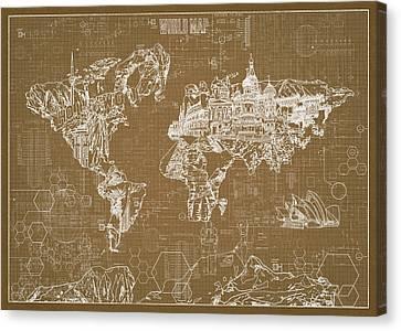 Canvas Print featuring the digital art World Map Blueprint 4 by Bekim Art